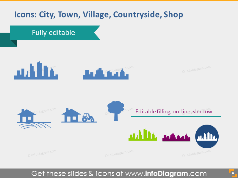 city town village countryside shop pictogram ppt cliparts