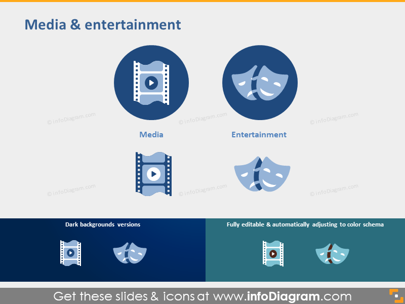 Media entertainment industry symbols ppt icons