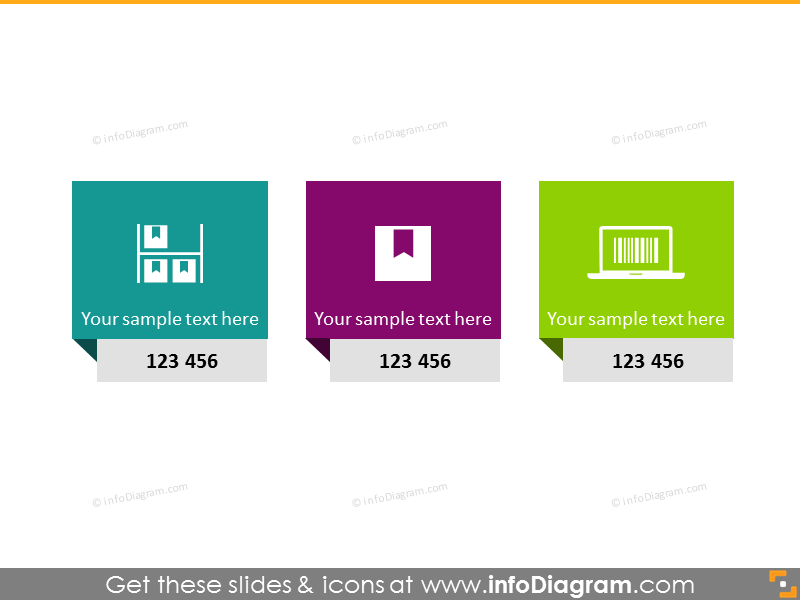 3 rectangle infographics diagram packaging scm icon ppt