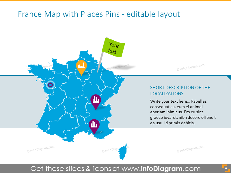 France map with places pins