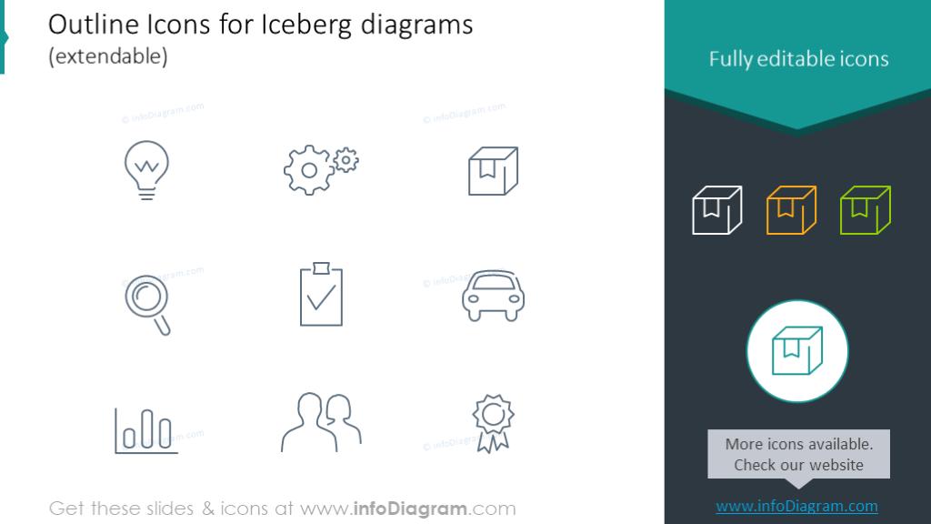 Outline icons set for iceberg diagram