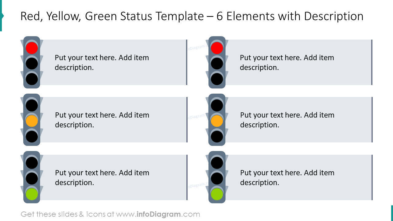 18 Visual Project Rag Status Charts With Traffic Light Indicator Powerpoint Tables Template With Editable Icons