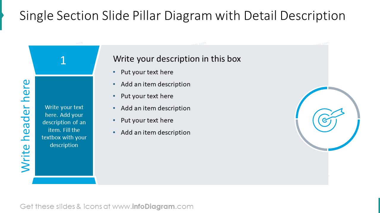 Single section slide pillar diagram with detail description