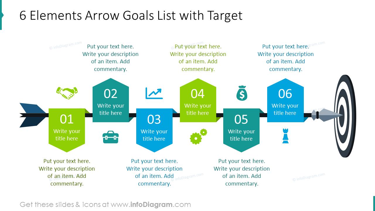 Six elements arrow goals list with target