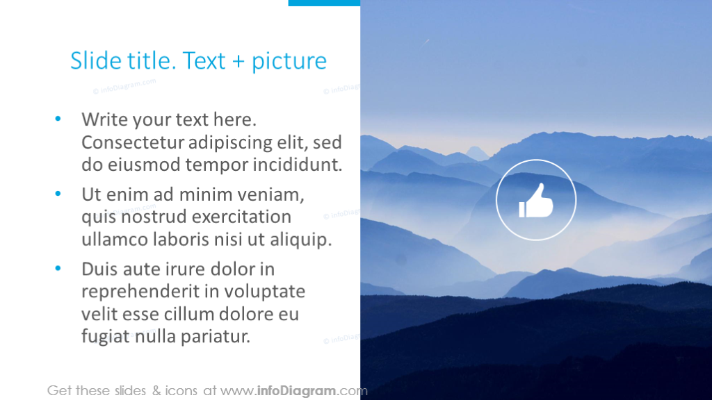 Slide template illustrated with text, icons and picture
