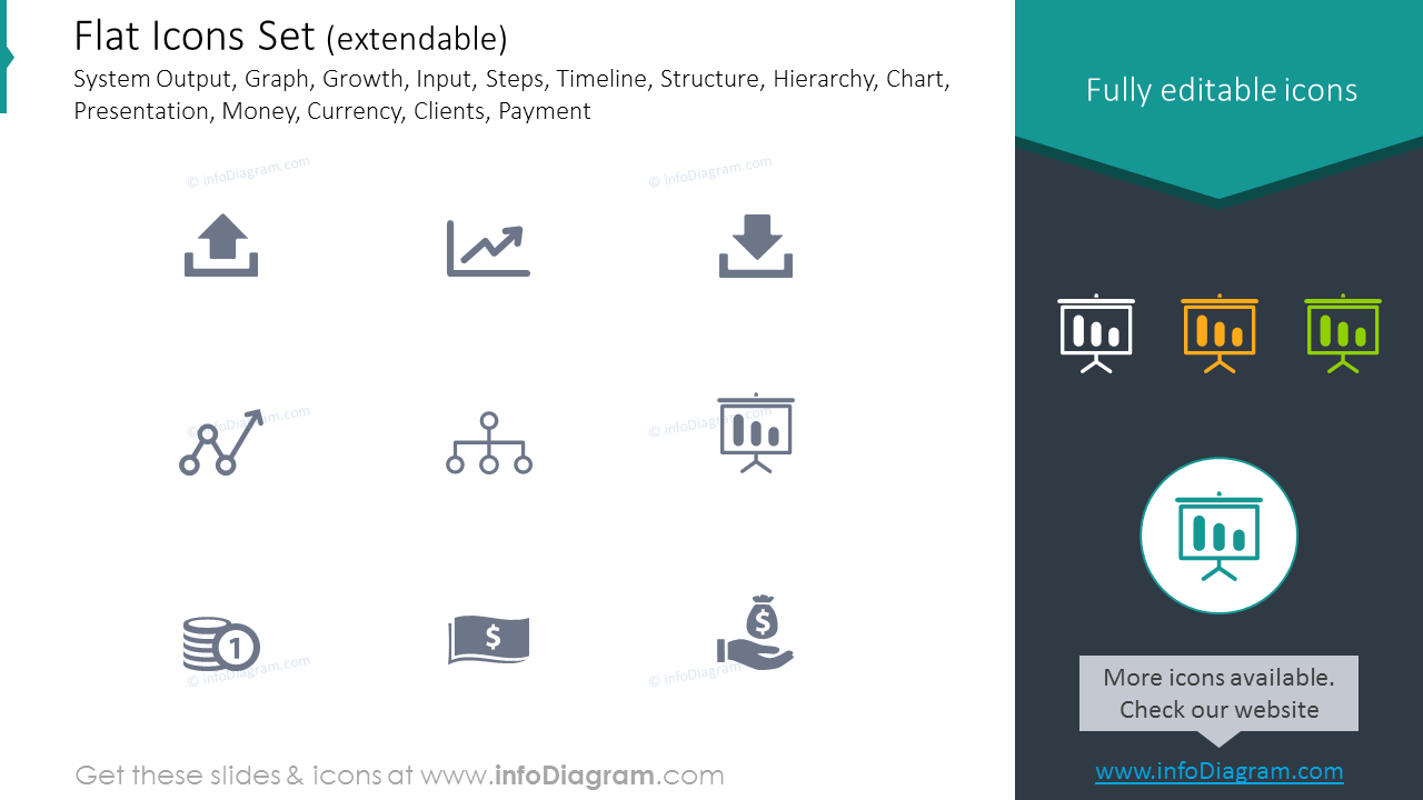 Icons Set: System Output, Growth, Input, Structure, Hierarchy, Currency