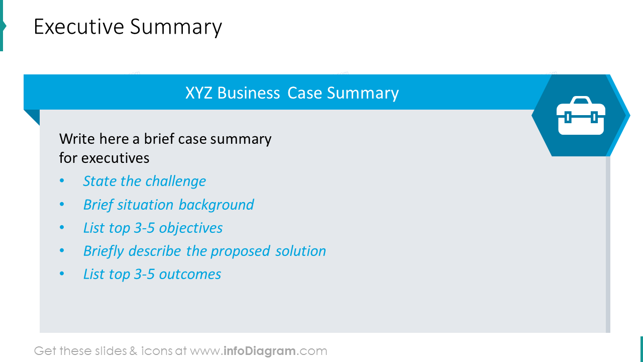 Executive summary shown with list description and icons