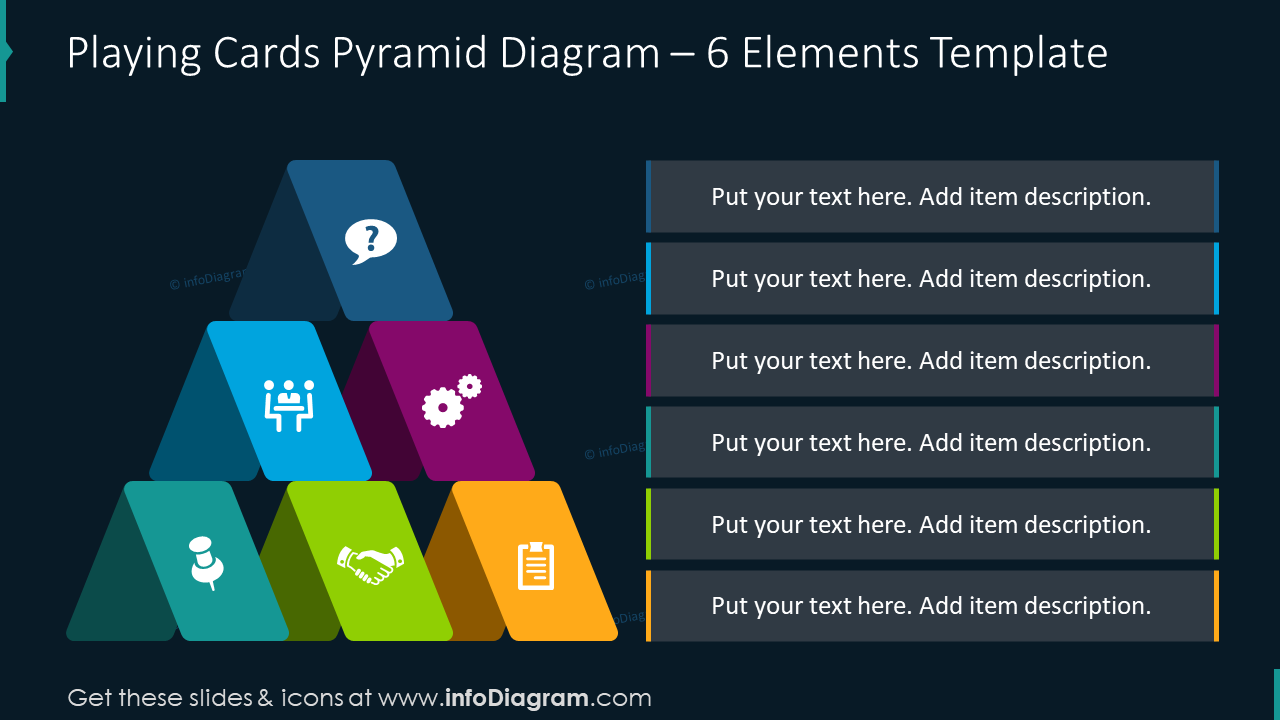 Playing cards pyramid diagram for 6 items