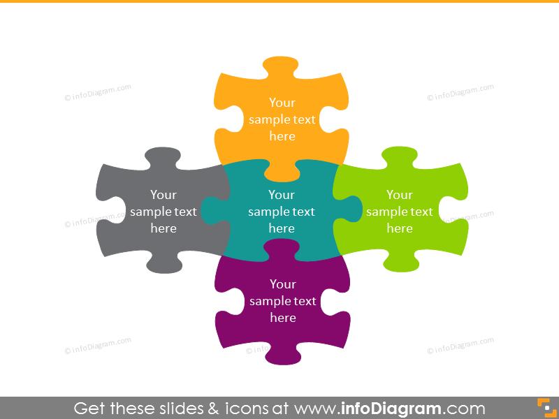5 multicolored piece together puzzles symbols slide