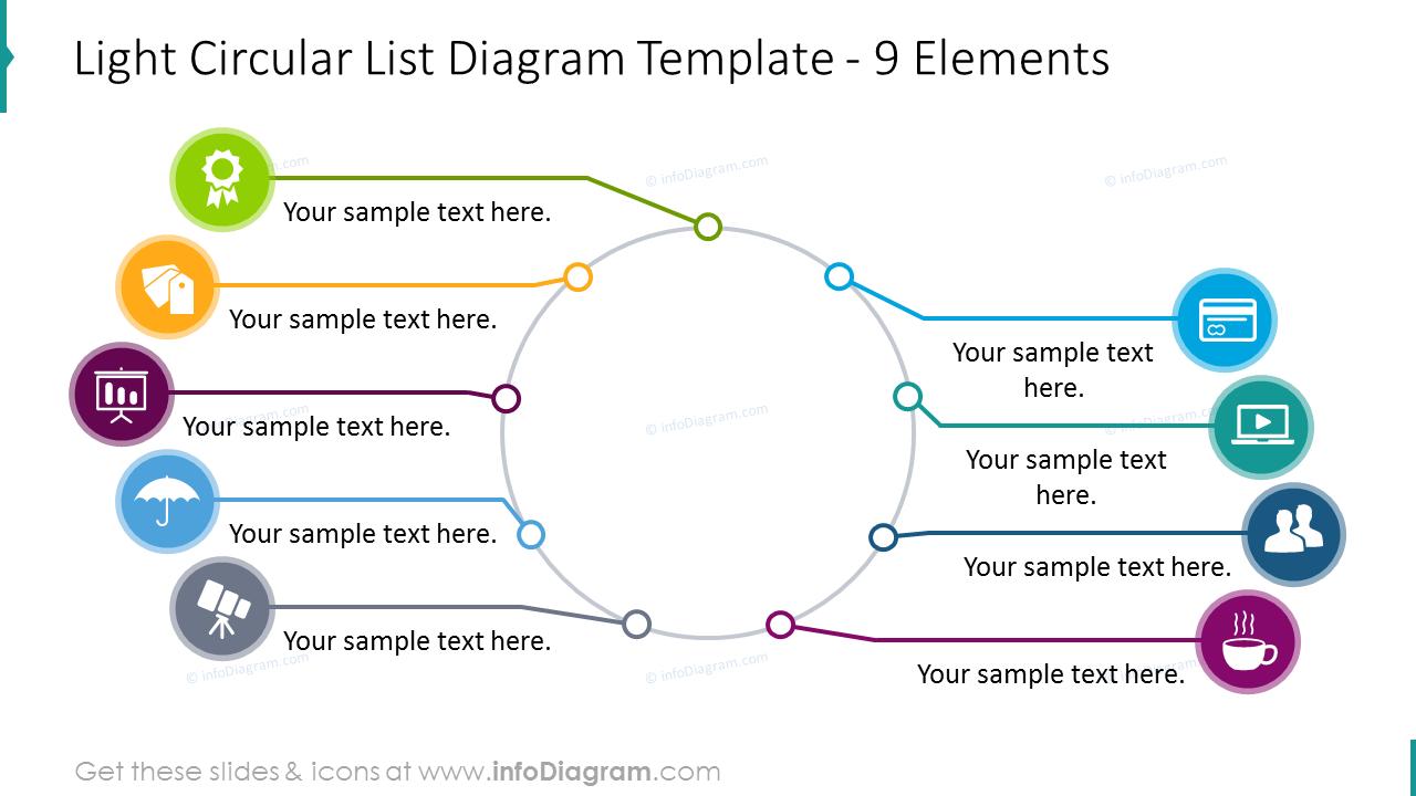 Light circular list template placing 9 elements