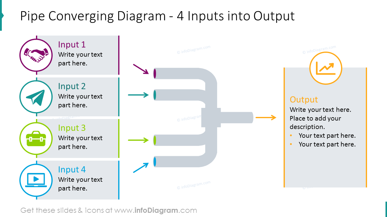 Pipe converging graphics for 4 inputs/ outputs process with flat icons