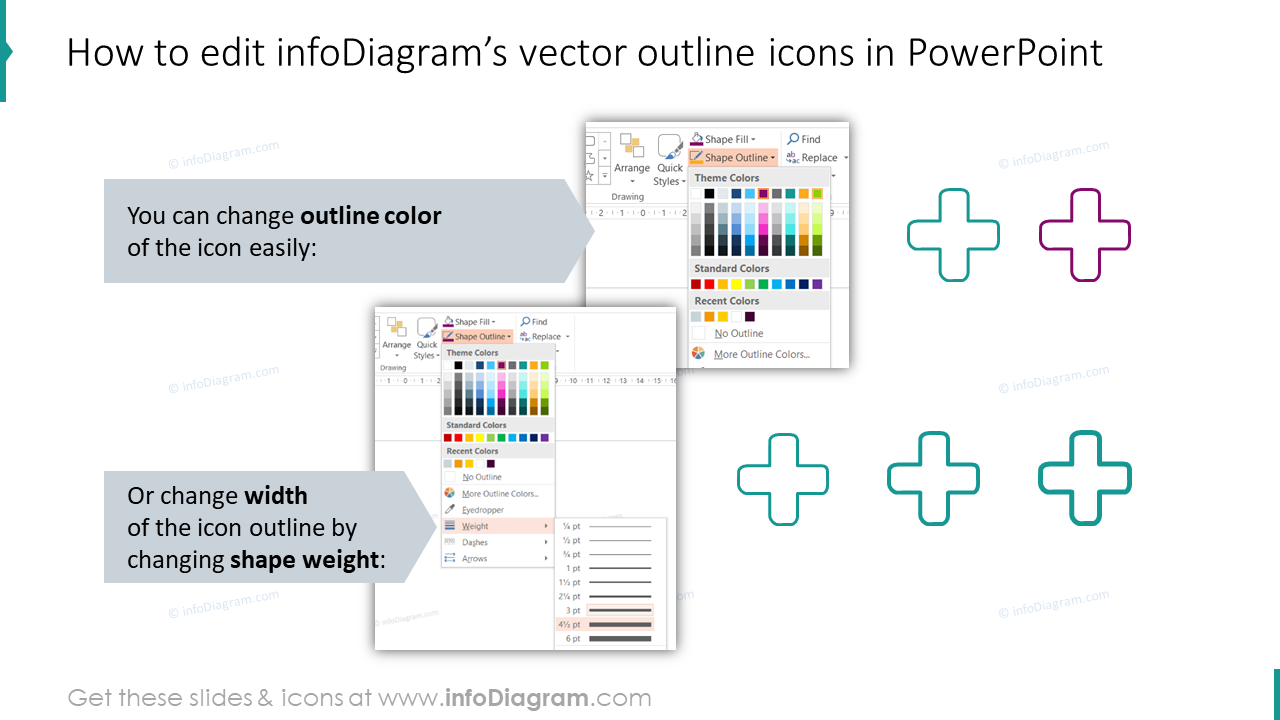How to edit infoDiagram's vector outline icons