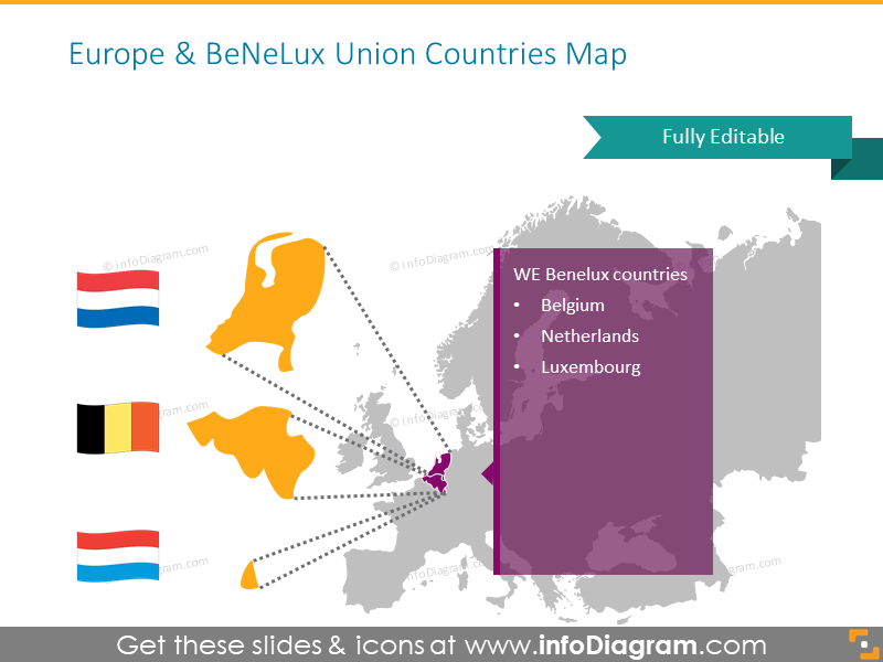 Europe Benelux countries map