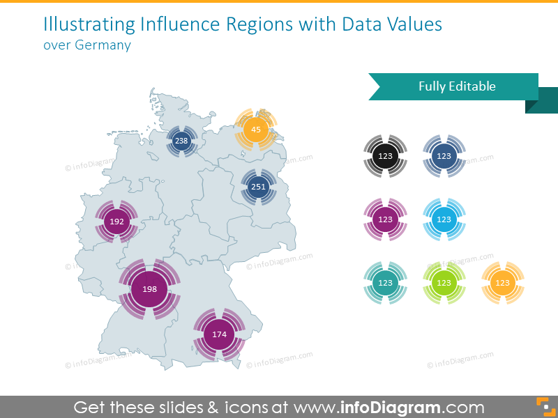 Germany map with data values