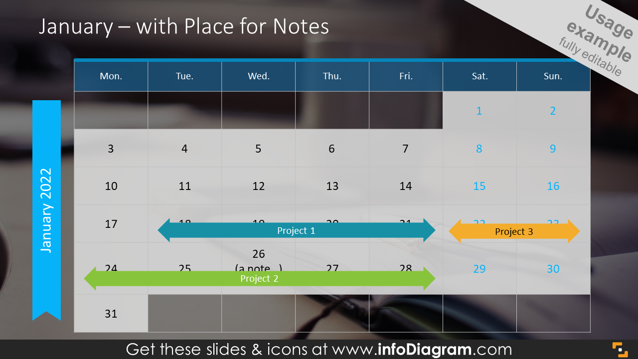 EU Calendar 2020 January with place for Notes