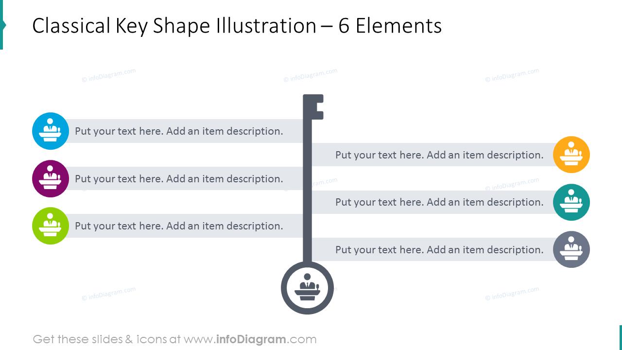 Classical key shape slide placing 6 elements