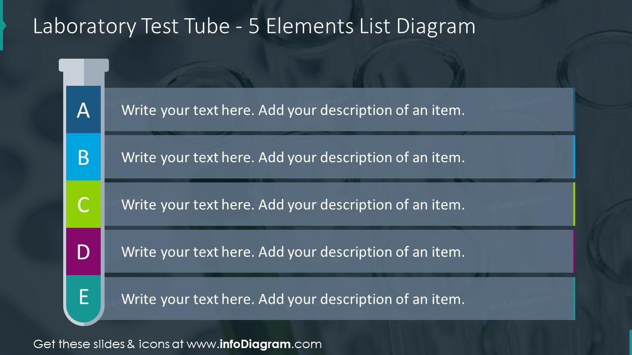Laboratory test tube for five elements list diagram on dark background
