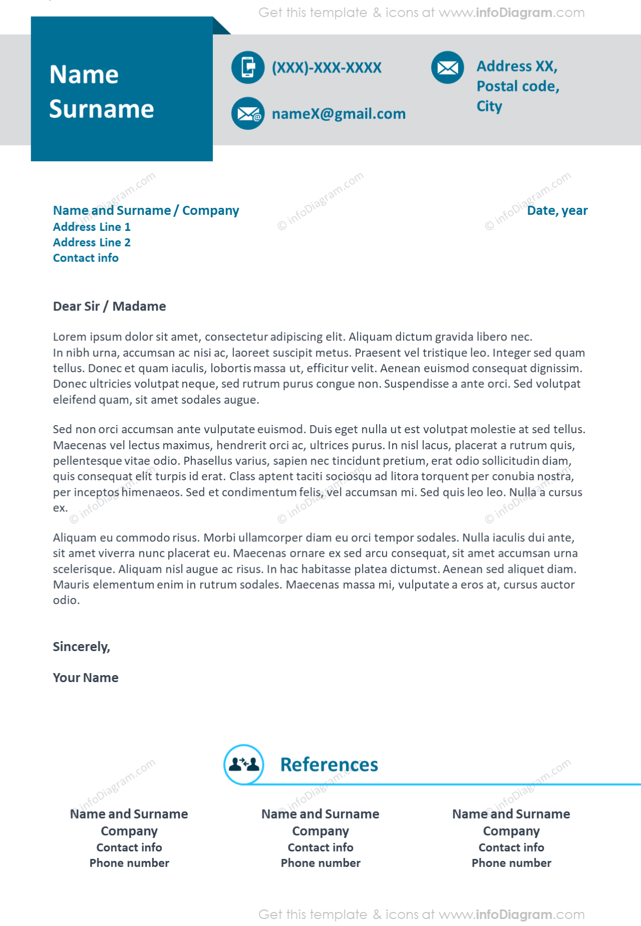 Professional blue ribbon visual motivation letter and references example
