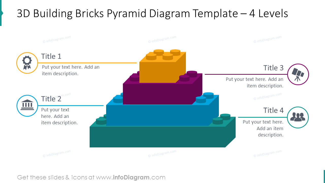 4 levels 3D bricks pyramid with flat icons