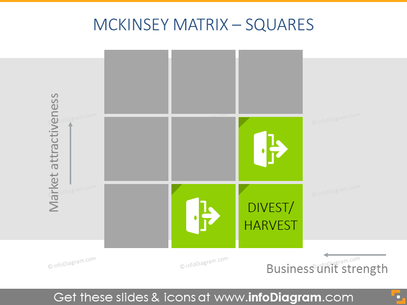 Harvest/Divest boxes as a part of gemckinsey matrixexample