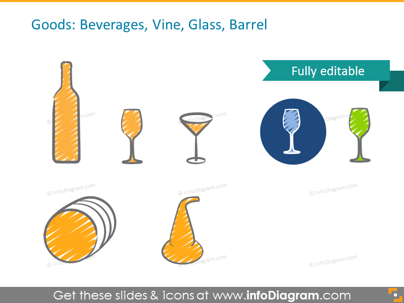 Example of the Goods symbols: Beverages, Vine, Glass, Barrel