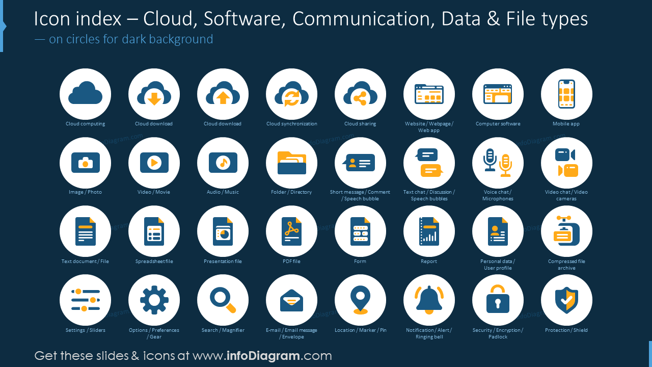 Icon index: cloud, software, communication, data, file