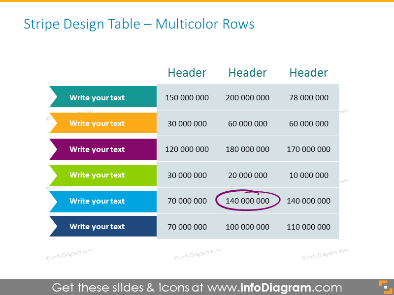 Stripe Design Table with Multicolor Rows