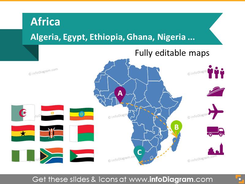 Map Africa countries powerpoint Algeria Egypt Ghana