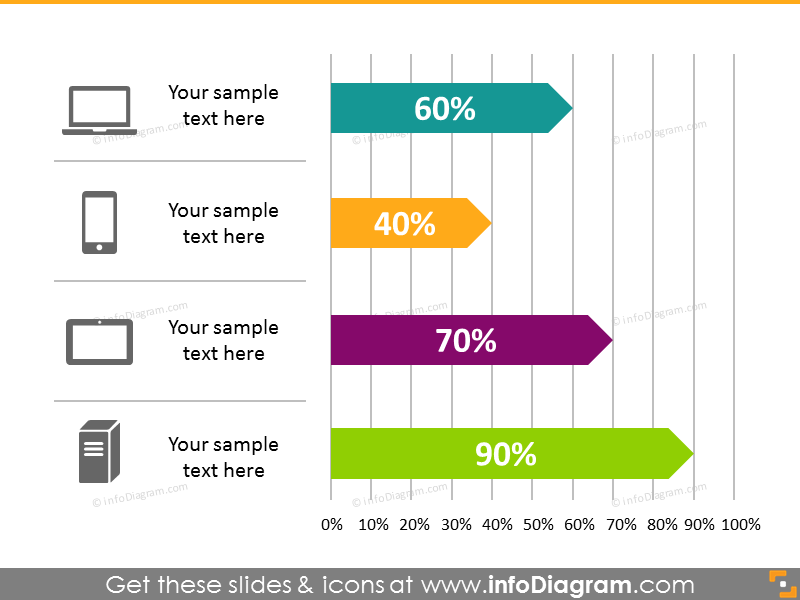 bar chart infographics template flat powepoint