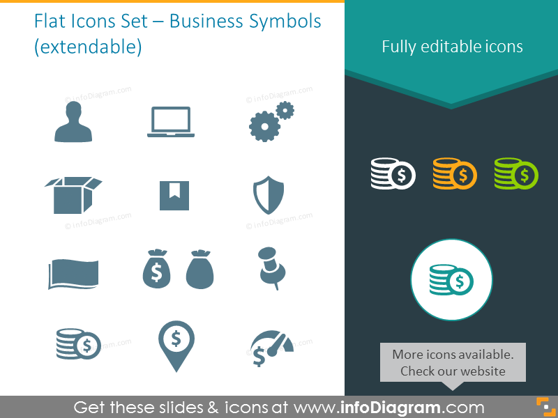 Extendable Flat Icons Set – Business Symbols