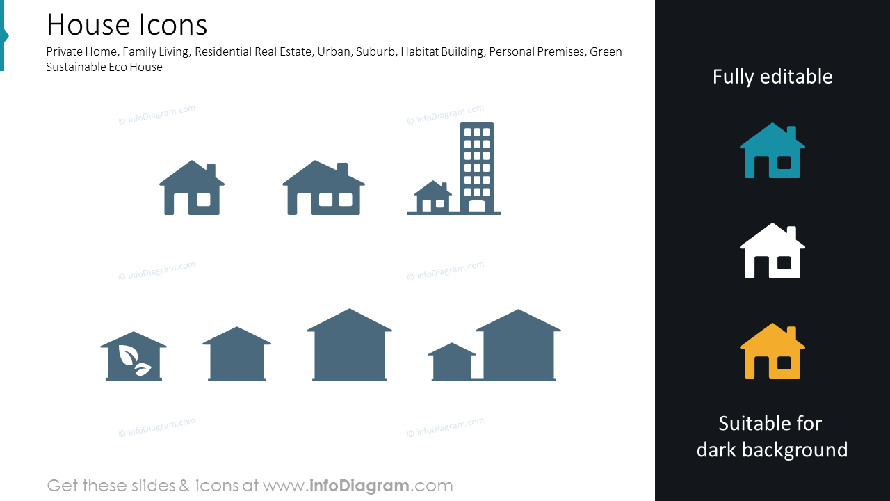 Houses for living, garage