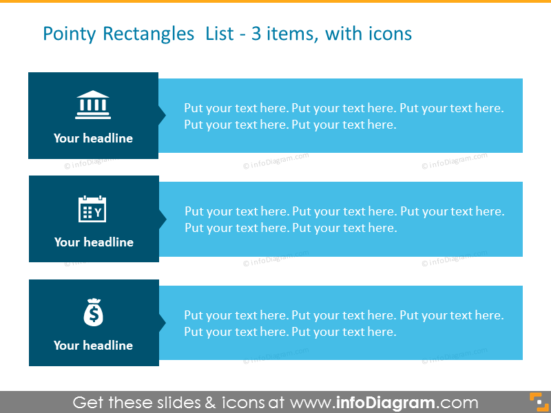 Pointy rectangles list showed with icons and bullet points