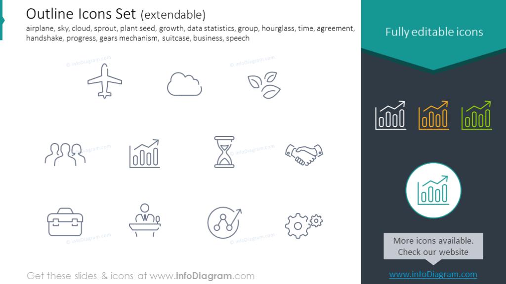 Icons Set: airplane, growth, hourglass, agreement, handshake, progress