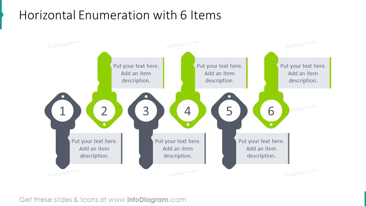 Horizontal enumeration slide for 6 items