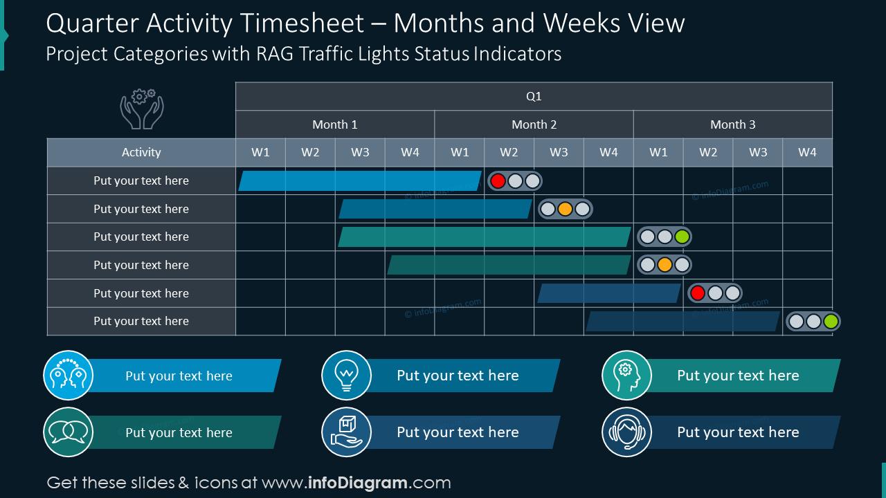 Quarter activity timesheet infographics