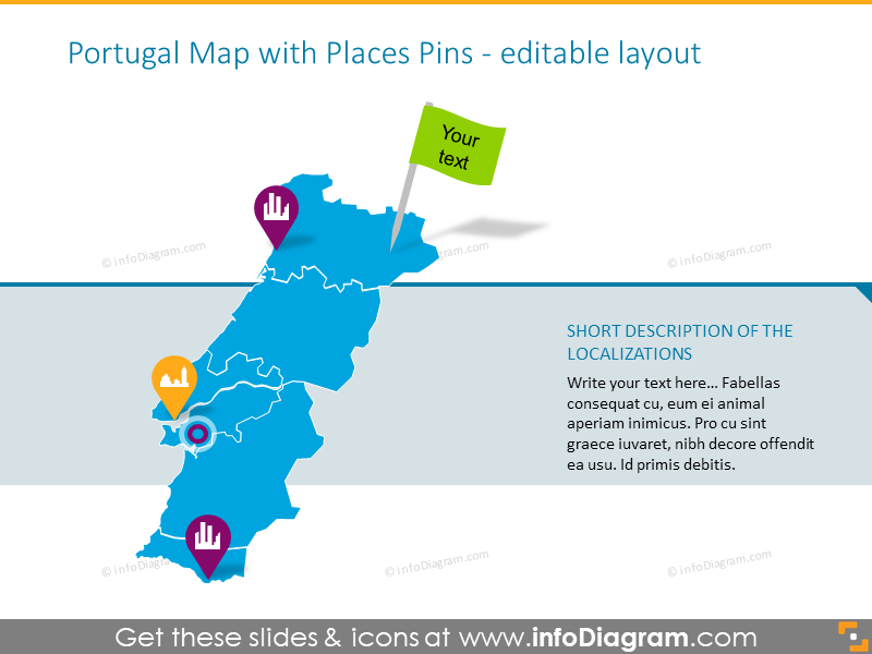 Portugal map with places pins