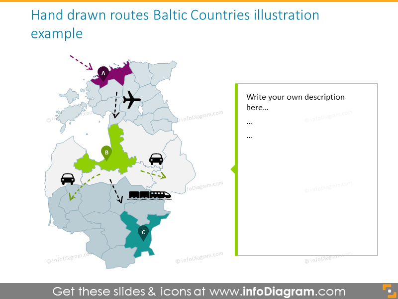 Hand drawn routes Baltic countries illustration