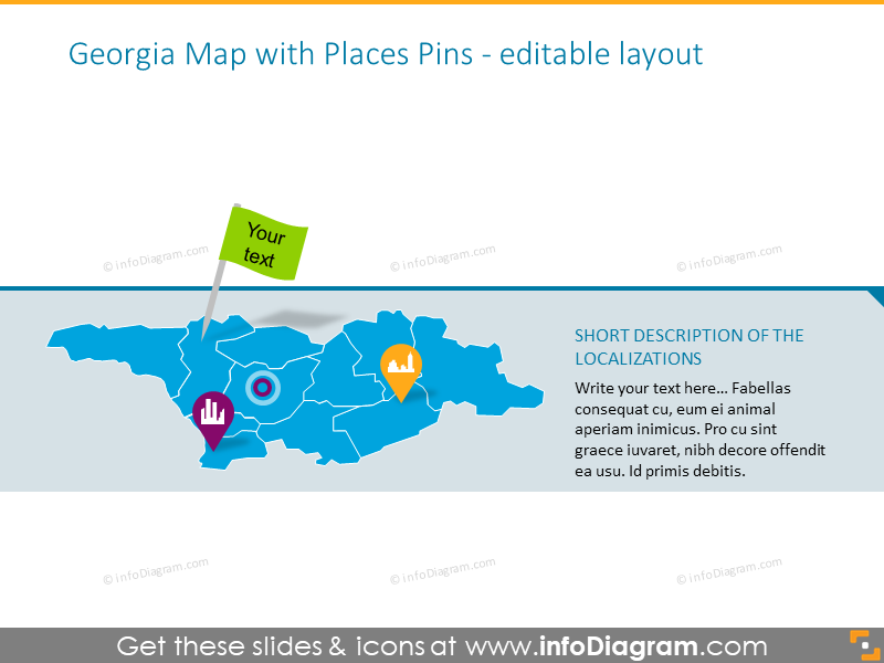 Georgia Map with Places Pins