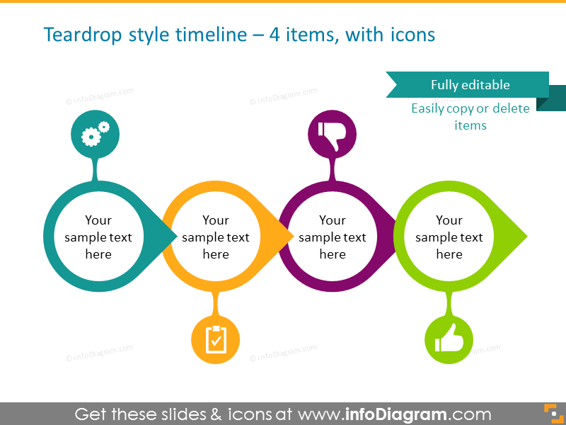 timeline infographics for 4 items with icons