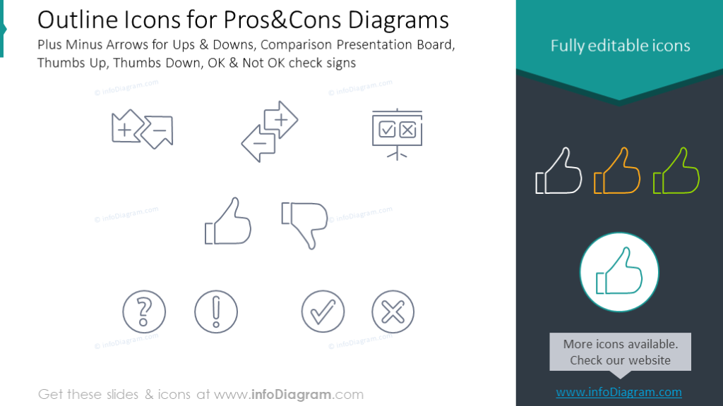 Pros and cons icons: Ups, Downs, Thumbs Up, Thumbs Down, check signs