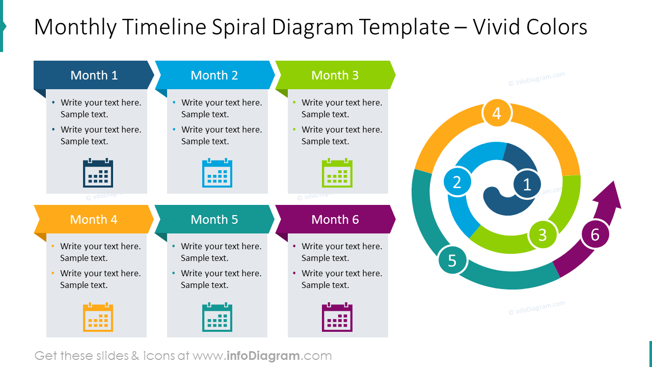 Vivid spiral timeline with text placeholders for each month