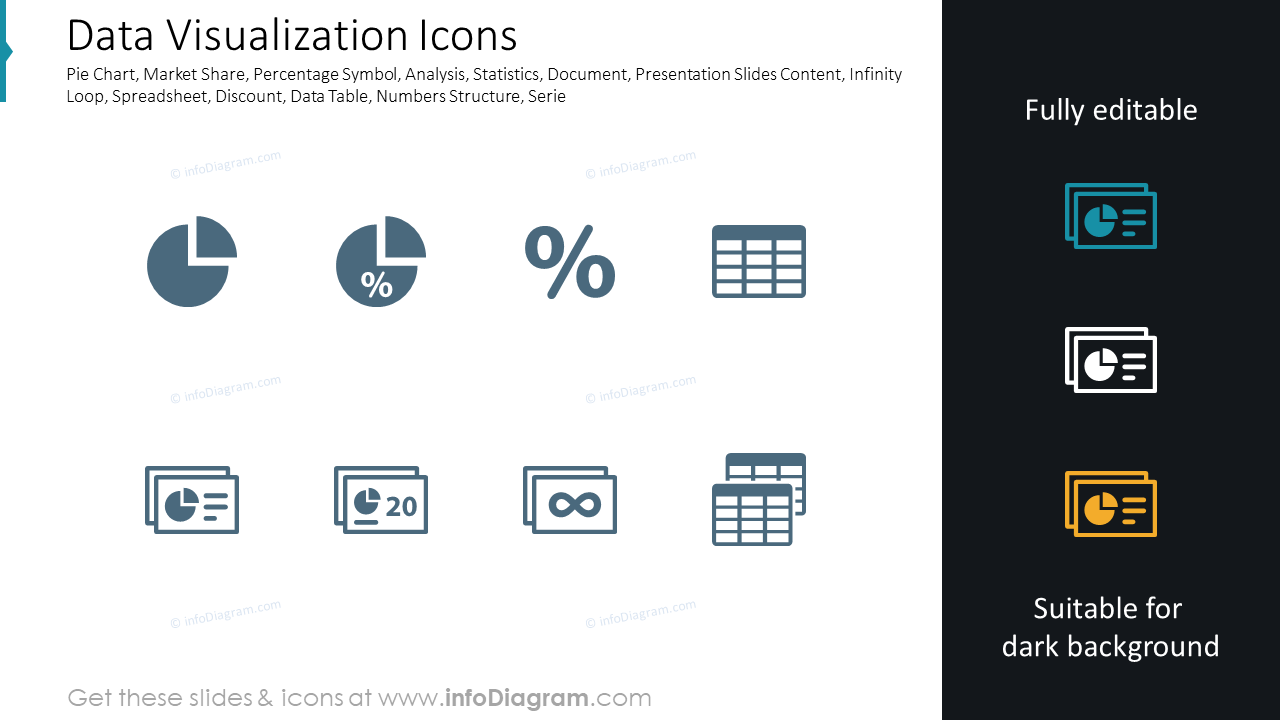 Icons of data and analytics: percentage, pie charts
