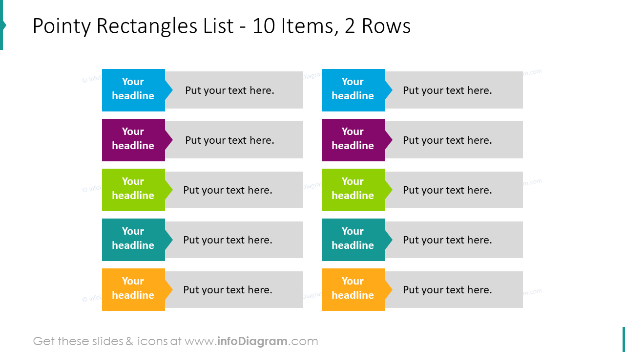 Pointy rectangles list for 10 items and 2 rows