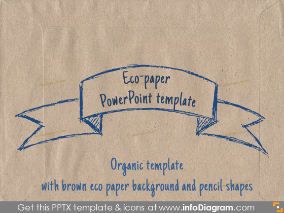 Eco paper PowerPoint template Organic brown paper pencil