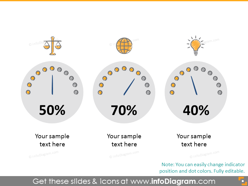 Example of the dashboard diagrams illustrated with icons