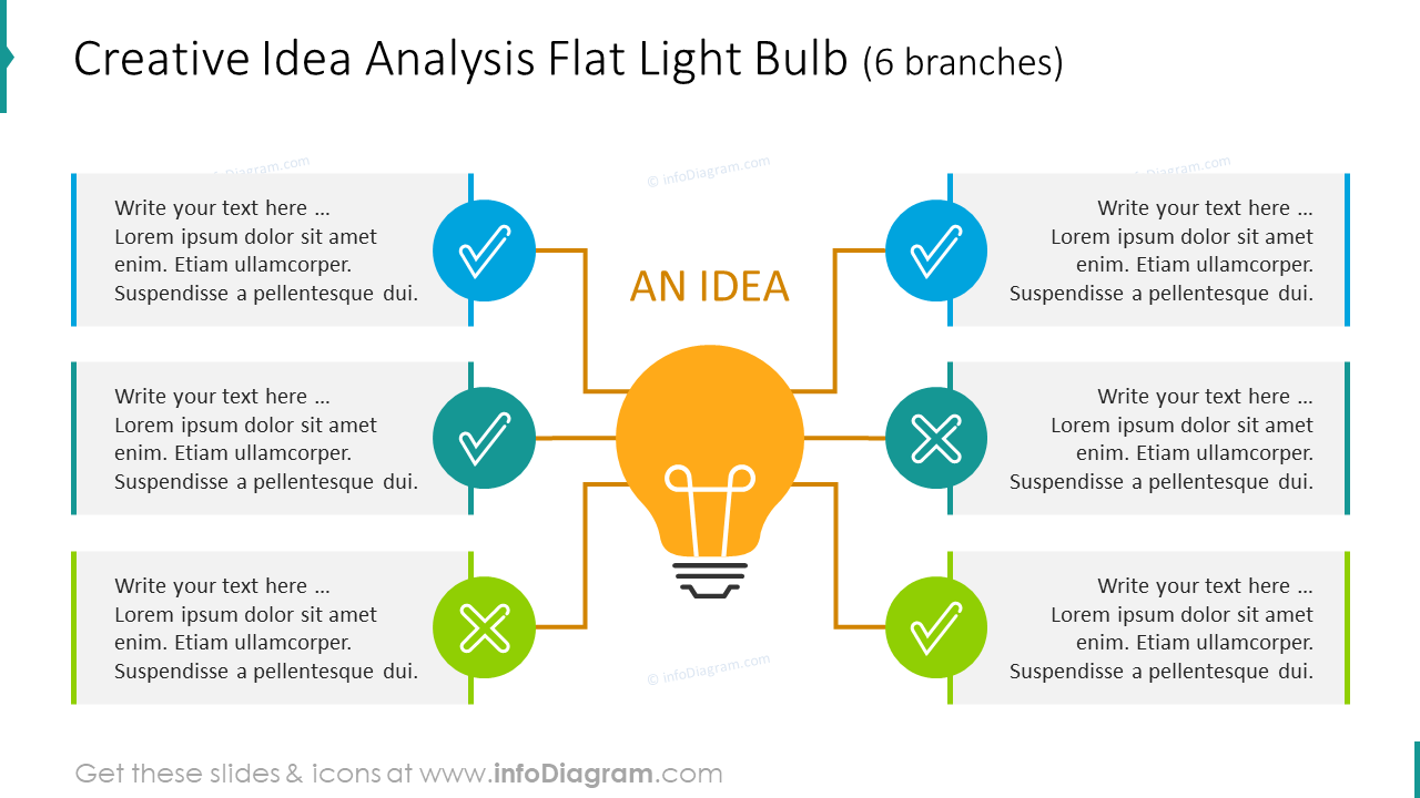 6 branches flat light bulb for creative idea analysis with modern symbols