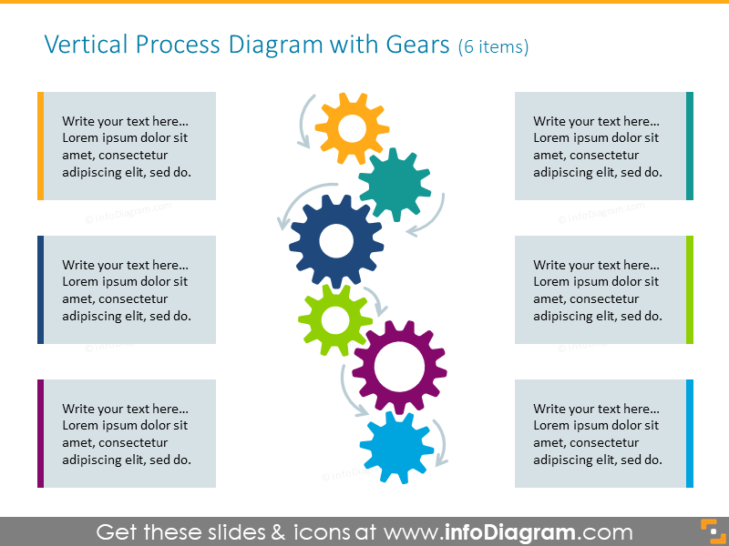 17 Modern Process Gears Diagrams Powerpoint Template