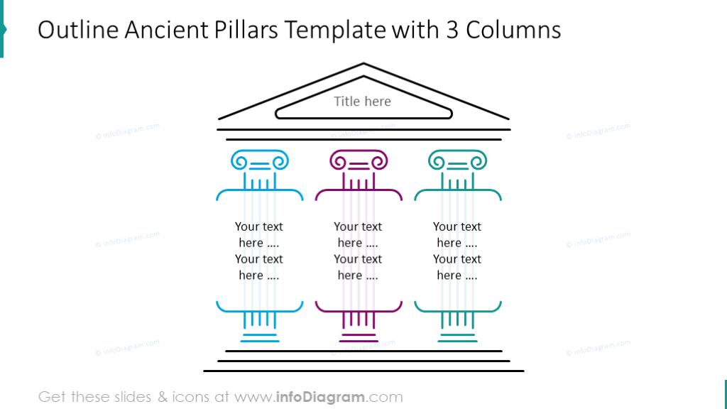 Outline ancient pillars 3 columns diagram