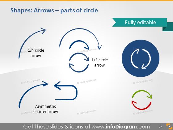 arc line arrow sketched ink ppt shape vector