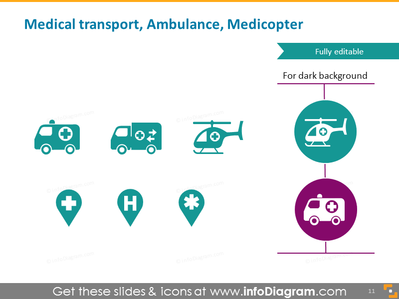 Medical transport ambulance, helicopter